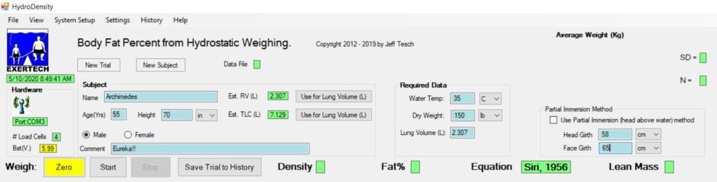 Key in the Subject information & Required Data: Water Temp, Dry Weight & Lung Volume. NOTE: Residual Volume (RV) and Total Lung Capacity (TLC) are automatically estimated from Age & Height.
